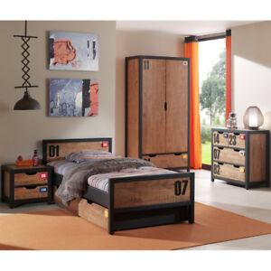 Komplett Jugendzimmer Kinderzimmer Set Massiv 90x200 Bett