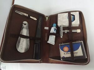 VINTAGE-SHAVING-TRAVEL-KIT-LEATHER-GROOMING-GERMANY-G-24