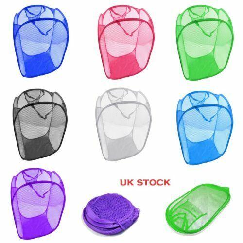 Laundry Bag Pop Up Washing Foldable Laundry Basket Bag Mesh Hamper Storage UK