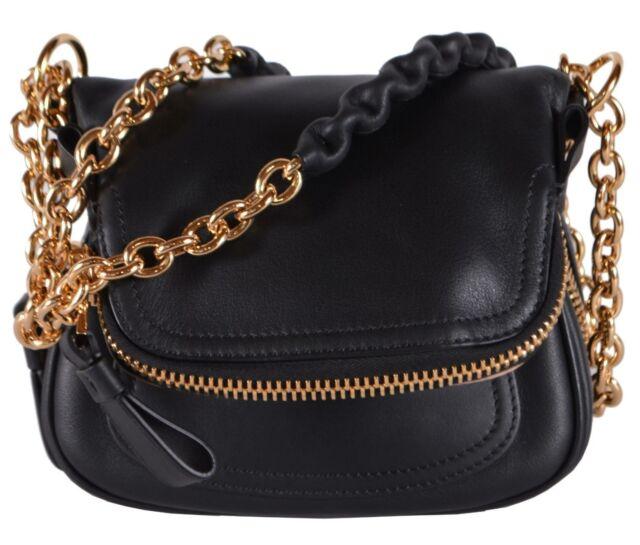 New Tom Ford 2 450 Black Leather Mini Jennifer Crossbody Saddle Bag Purse