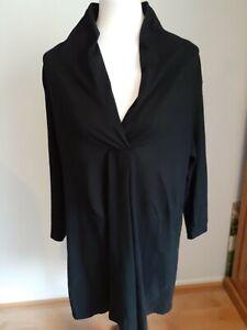 Eileen-Fisher-Black-V-Neck-Tunic-Blouse-Top-Shirt-Size-XL-Long-Sleeve