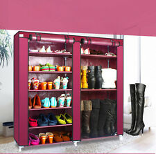 Double Row 9 Tiers Shoe Boot Rack Shelf Closet Storage Organizer Cabinet  Claret
