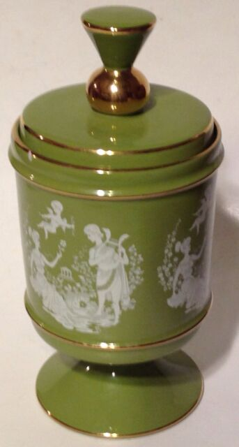 Candy Jar Florentine Hand Made Italy Porcelain Italian Lovers Cherub Green Vtg