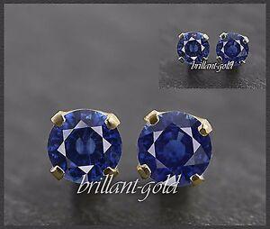 Ohrstecker-585-Gold-Saphir-blau-je-3-mm-14-Karat-Ohrringe-Damen-Schmuck-Neu