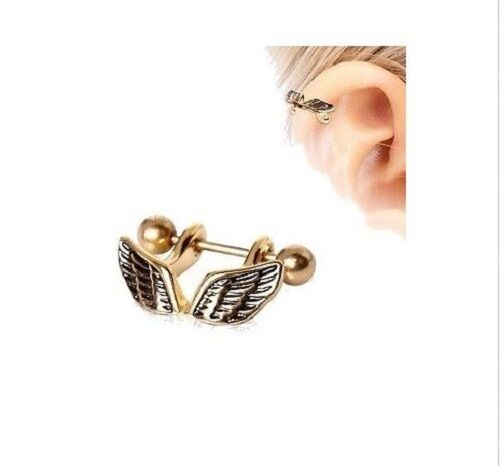 16g GOLD PLATED ANGEL WING CARTILAGE EAR CUFF