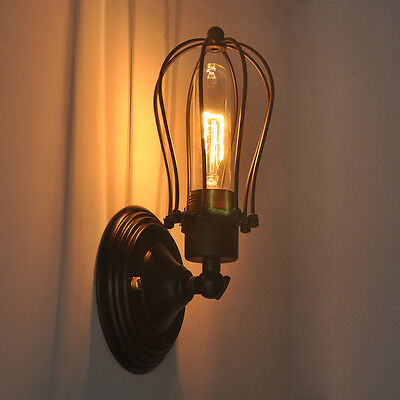 Vintage Industrial Wire Cage Wall Lamp Sconce Light Fixture Freebulb Rustic Bar
