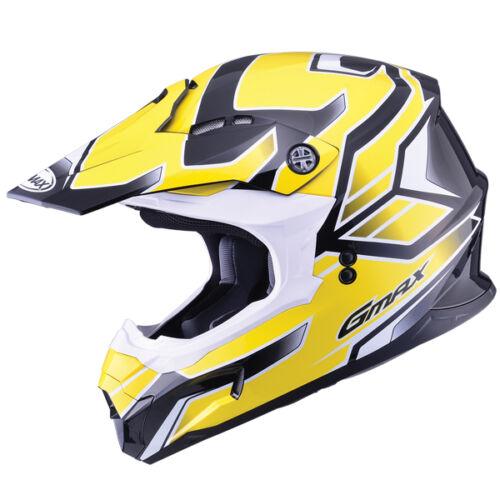 GMAX GM86 YELLOW MOTOCROSS HELMET MX ATV OFF DOT LIGHTWEIGHT PEAK