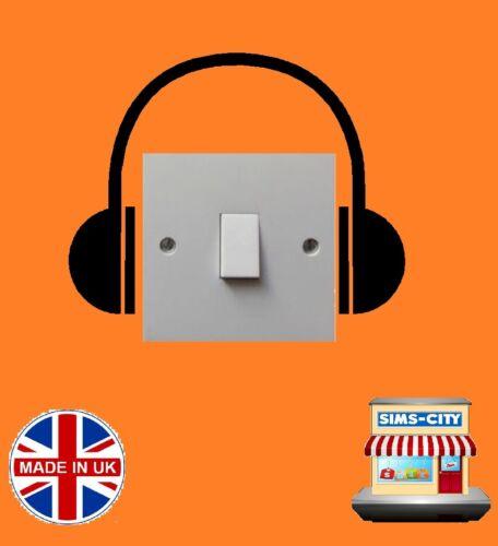 Musique Tête Téléphones musical Head Set Interrupteur De Lumière Prise de Courant Autocollant Vinyle SW115