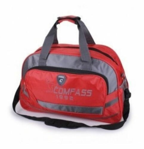 GREY BLACK,­ DURABLE POLYESTER NEW RED ZIPUP SPORTS GYM KIT BAG WITH STRAP
