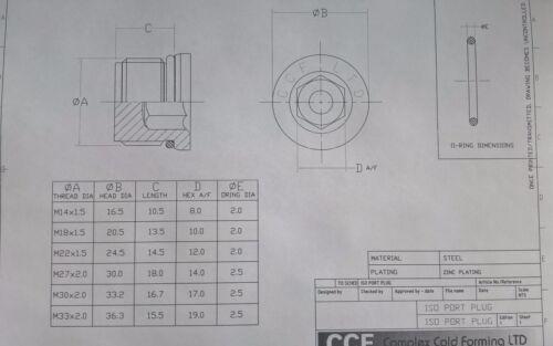 M14 M18 M22 M27 M30 M33 Sump ORing Plug Sealing Bolt Blanking Plug Rubber Washer