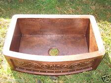 "*Hammered Copper kitchen Sink w/Rustic Fleur de Lis Design 33""x22"" /16 Gauge !!"