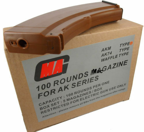 New MAG 100round Magazine for AK AKM Airsoft AEG Plasctic Bakelite (5pcs boxset)
