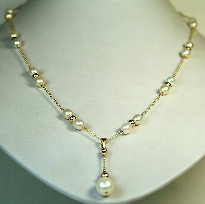 14K solid y/gold natural AAA freshwater white pearl elegant necklace 24 inches