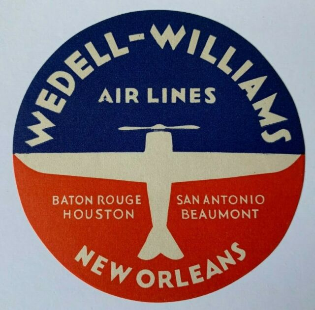 Vintage Wedell-Williams Air Lines Luggage Label New