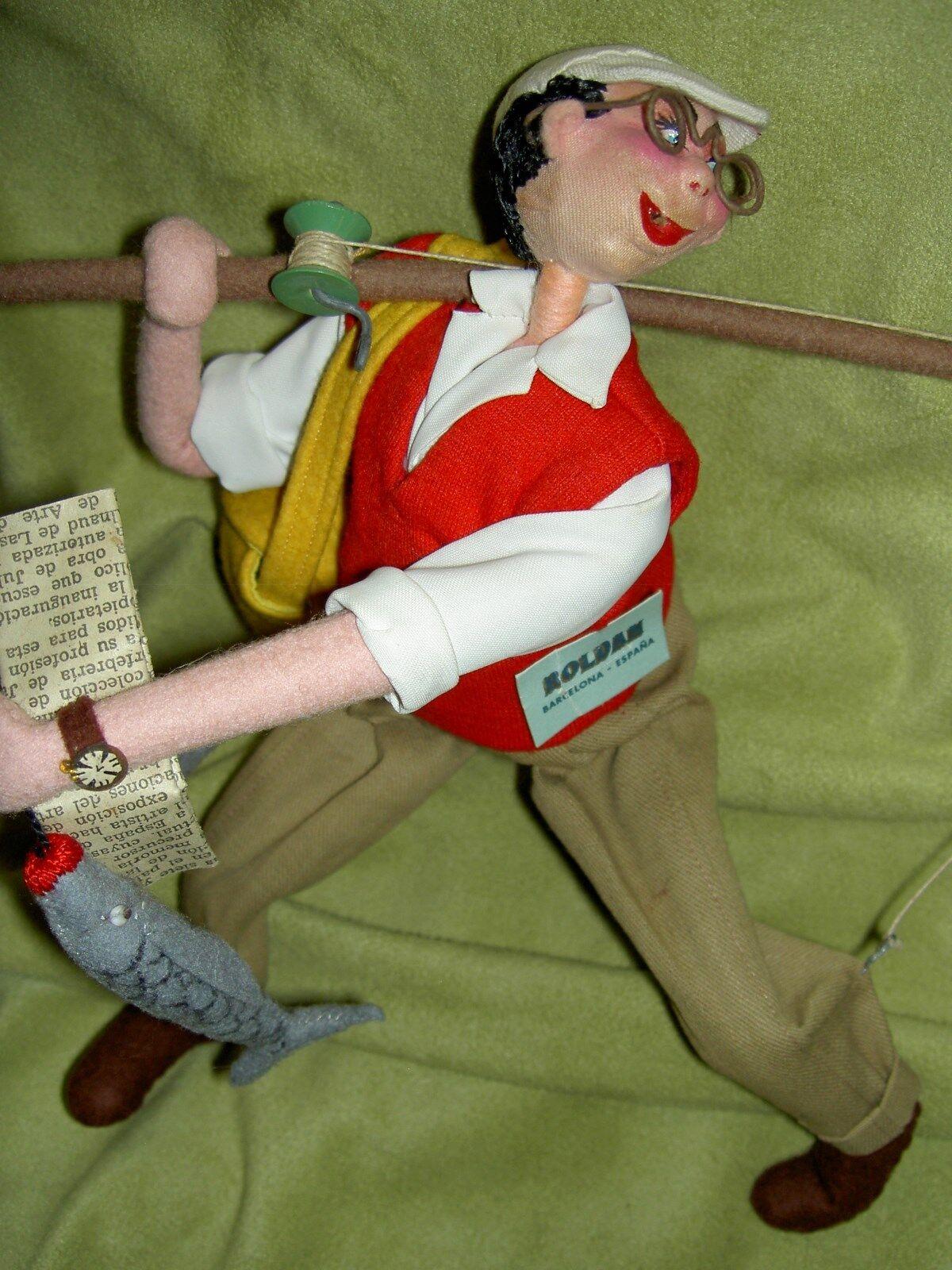 Etiquetado  Roldan Paño más de alambre de armadura, Comic Pescador, Figura De Muñeca Vintage