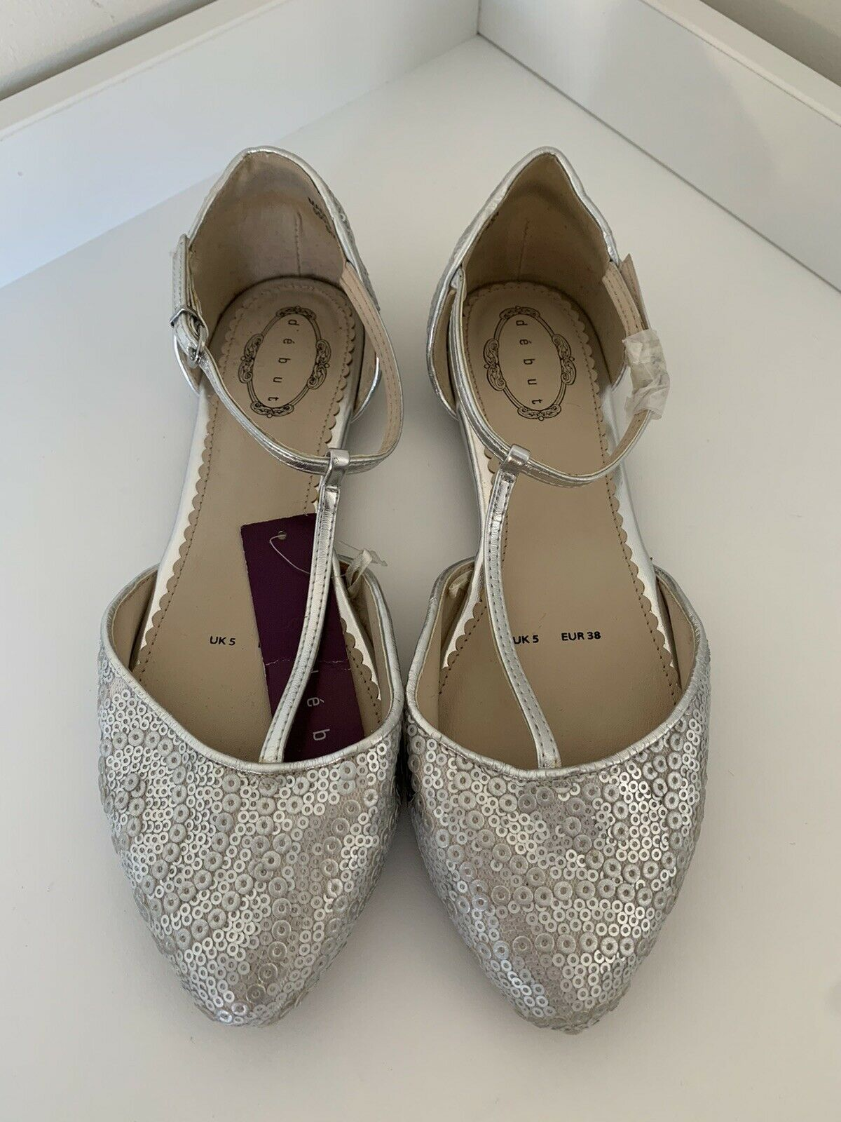Debut Flat Silver Occasion Shoes