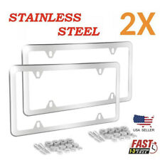 2pcs Chrome Stainless Steel Metal Car License Plate Frame Tag Cover Withscrew Caps