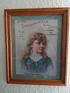 Framed-VTG-Advertisement-034-Ayers-Sarsaparilla-034-Custom-Frame-12-3-4-034-x-15-3-4-034