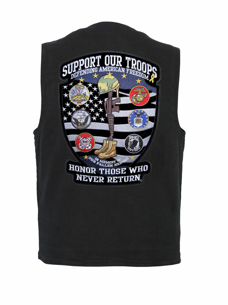 Mens Conceal Carry Denim Vest W Patriotic Support Our Troops Military Patch
