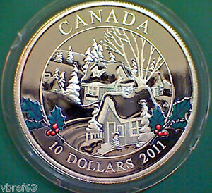 2011-CANADA-Winter-Town-10-99-99-silver-mint-condition