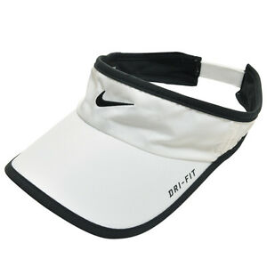 1eeb2f8d05f NEW! RARE White NIKE Men-Women Tennis Golf Visor DRI-FIT Runner ...