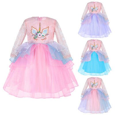 Flower Girls Long Sleeve Floral Dress Kids Baby Party Pageant Lace Tutu Dresses