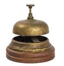 Campanello Campana da Hotel Reception in ottone brunito con base in LEGNO