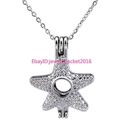 5pcs//lot Silver Starfish Beauty Locket Pendant Pearl Beads Cage Charm K306