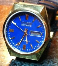 UNWORN CITIZEN WATCH AUTO  GOLD DAY DATE 21J BLUE FACE,BLACK LEATHER BAND