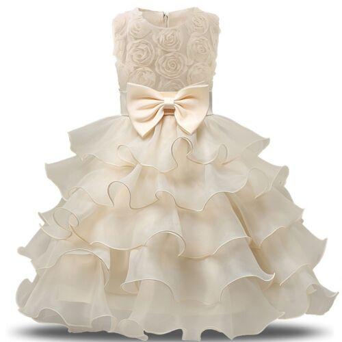Flower Girl Princess Organza Gown Baby Kids Party Birthday Formal Tutu Dresses