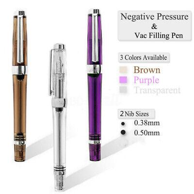 3PCS Vacuum Fountain Pen Paili 013 Resin Transparent Quality EF//F Ink Pen Set