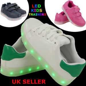 db2dc44d8 NEW GIRLS BOYS LACE UP SNEAKERS LUMINOUS LED LIGHT UP TRAINERS ...