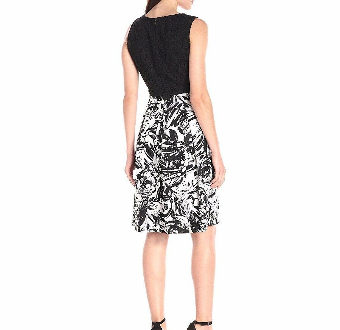 Ellen Tracy Casual Sleeveless Dress Fit and and and Flare with Printed Skirt-Size 6 9219ef