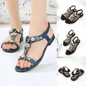 Women-Ethnic-Sandals-Roman-Shoes-Rhinestone-Beading-Snake-Flat-Sandals-Shoes