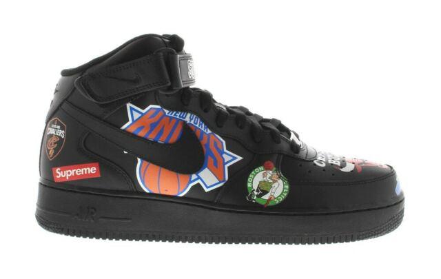 Supreme X Nike Air Force 1 Mid squadre NBA Nero Taglia UK8 US9 Deadstock