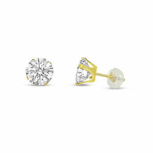 Solid-14K-Gold-Round-Clear-White-CZ-Cubic-Zirconia-Stud-Earrings-Free-Gift-Box
