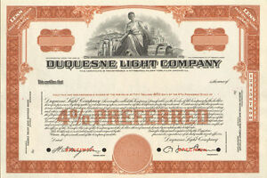 Image Is Loading Duquesne Light  Company Gt Pennsylvania Utility Company Brown