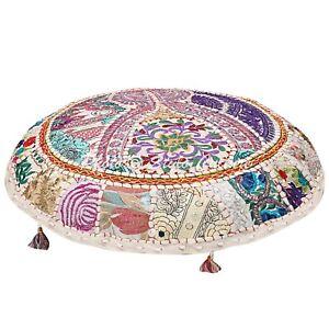 Details zu Indisch Rund Große Kissen Couch Weiß Bestickt Patchwork Baumwolle 100 Cm