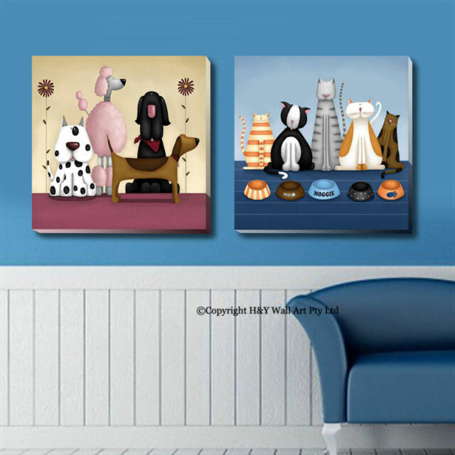 """Canvas Art Print /""""Raining Cats and Dogs/"""""""