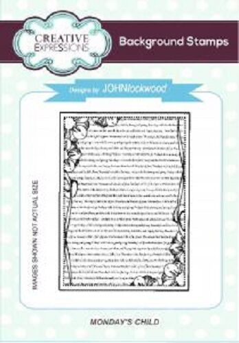 CREATIVE EXPRESSIONS Cut Mounted BACKGROUND STAMPS Monday/'s Child A6 UMS682