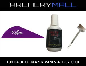 $35** 100 Pack of Blazer Vanes with a Death Grip Fletching Glue **Reg PURPLE