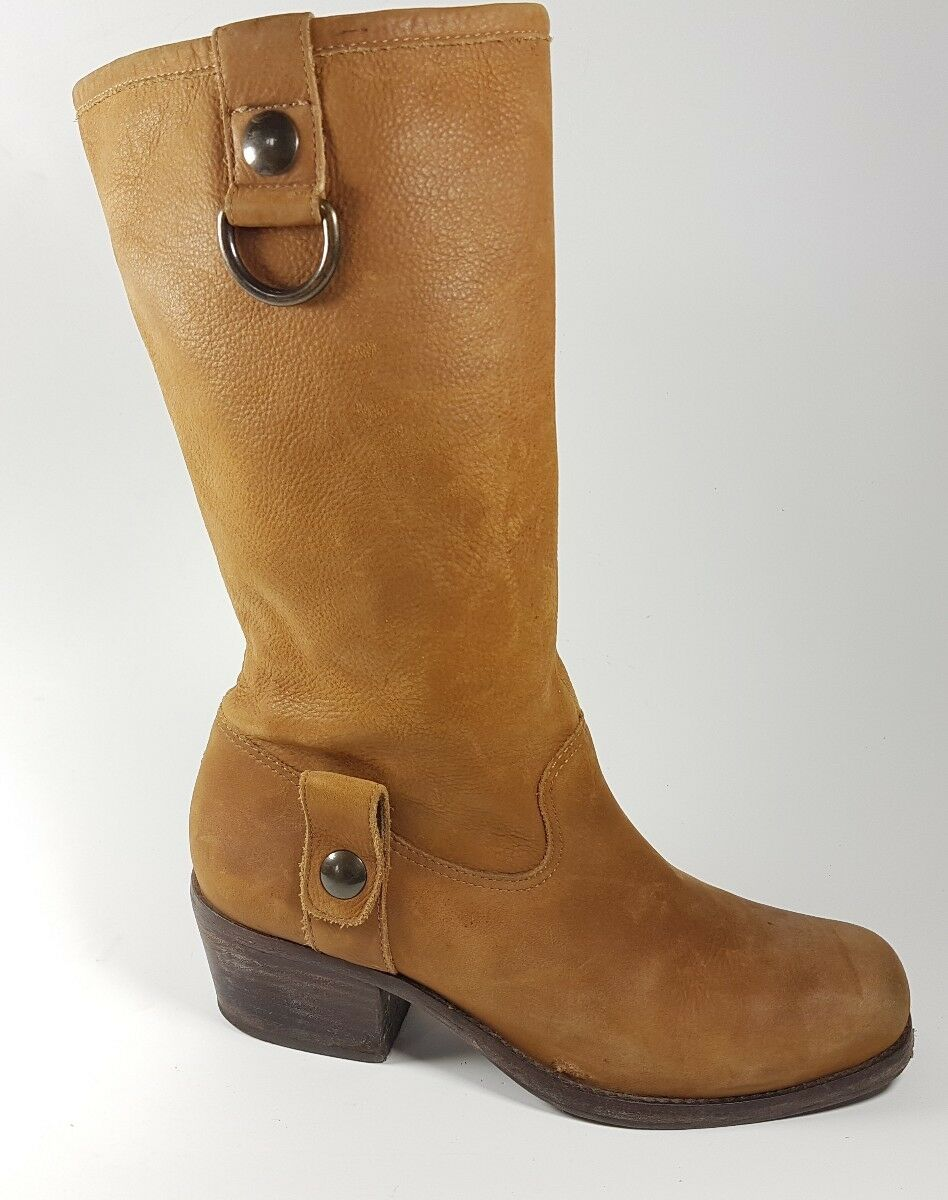Dune London tan leather mid calf mid heel boots eu 36 RRP