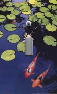 Light switch plate outlet covers japanese koi fish in for Decorative fish pond covers