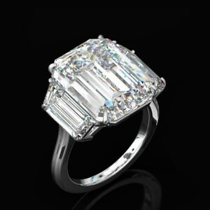 Large 24 64cttw Three Stone Emerald Cut Diamond Cocktail Party Ring 925 Silver Ebay