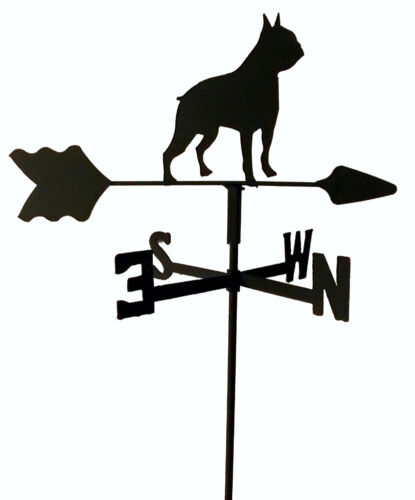 BOSTON TERRIER GARDEN STYLE WEATHERVANE WROUGHT IRON LOOK MADE IN USA TLS1047IN