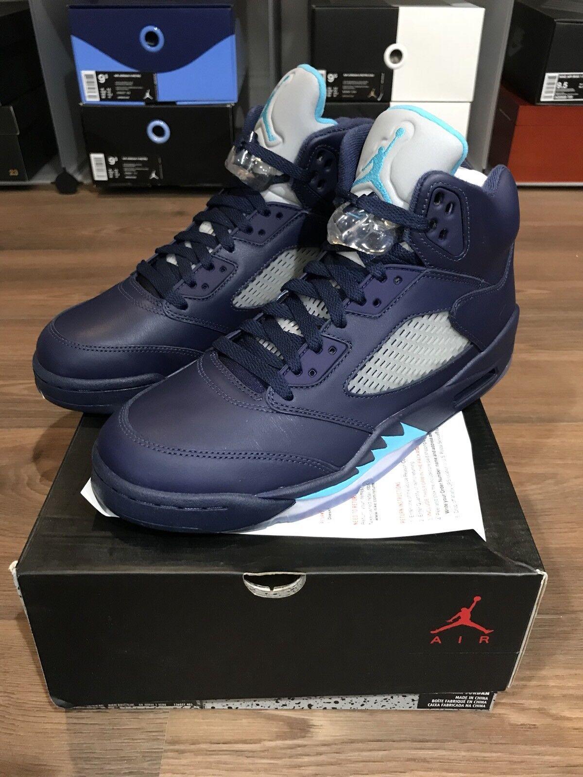 Nike tamaño Air Jordan 5 retro V pre UVA tamaño Nike 9,5 136027-405 marina nueva de24f5