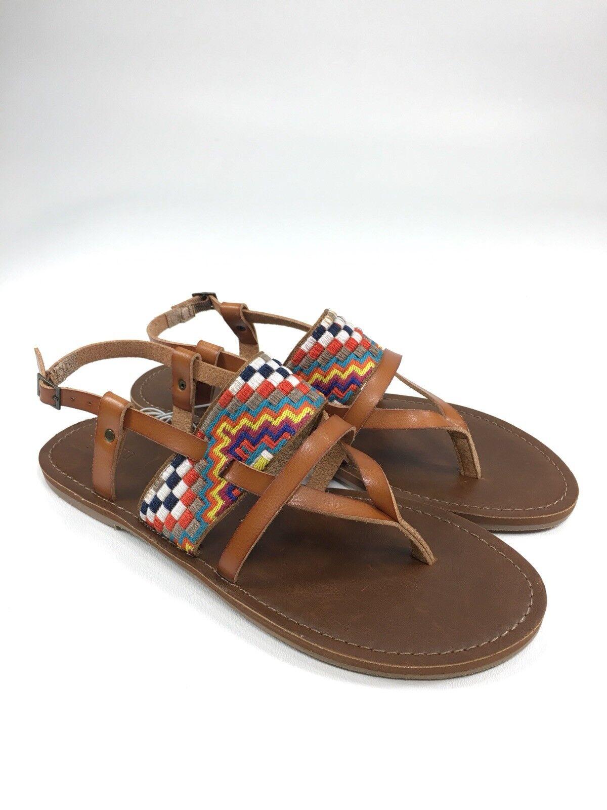 YELLOW BOX ~ Rainbow Black Flip Flops / Sandals ~ Size 8.5 Worn Once