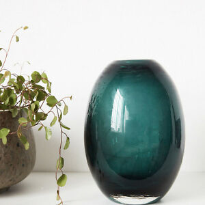 house doctor vase ball blumenvase gr n blau petrol glas deko glasvase 15 cm ebay. Black Bedroom Furniture Sets. Home Design Ideas