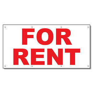 For Rent Red 13 Oz Vinyl Banner Sign With Grommets