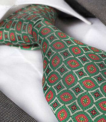 NEW ITALIAN DESIGNER GREEN / RED PATTERNED SILK TIE
